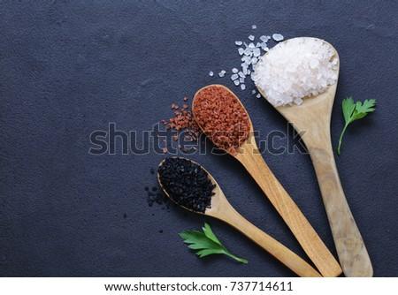 Different gourmet varieties of salt - black and red Hawaiian variety #737714611