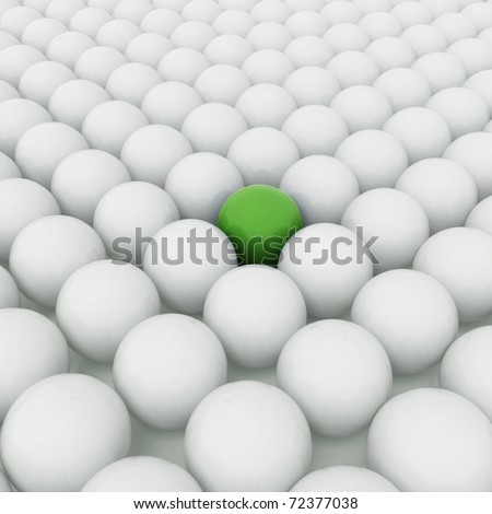 Different green ball with white balls