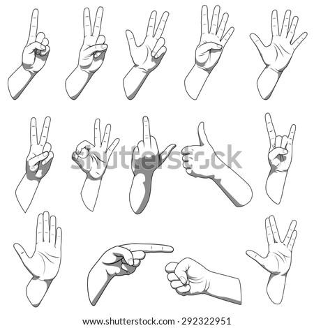 Different hands gestures raster version #292322951