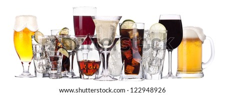 different images of alcohol isolated - beer,martini,cola,champagne,wine,