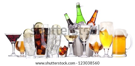 different images of alcohol isolated - beer,martini,soda,champagne,whiskey - stock photo