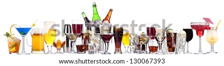 Shutterstock different images of alcohol isolated on a white background