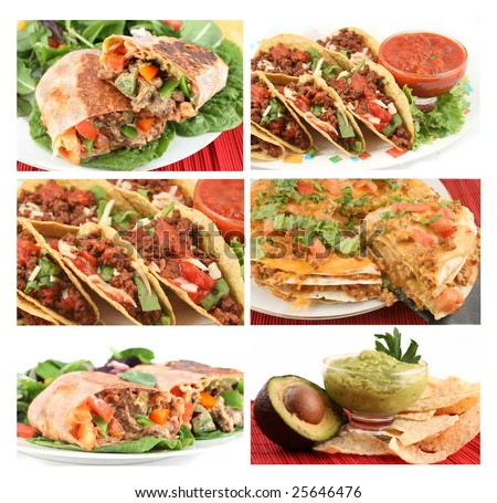 different images of various Mexican food dishes like burritos, tacos,nachos,guacamole, and fajitas