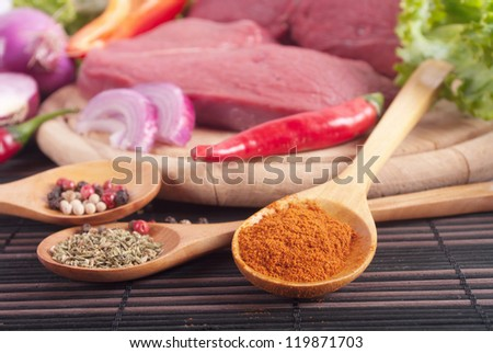 different Indian spices and meat