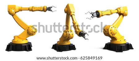 Different industrial robots isolated on white background 3D rendering Stock photo ©