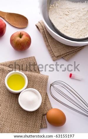 Different ingredients for cooking cake