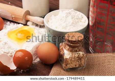 Different ingredients ready for baking