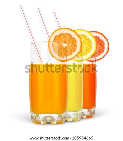 different juices with straw and slice isolated on white background