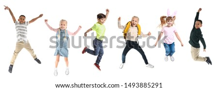 Different jumping children on white background