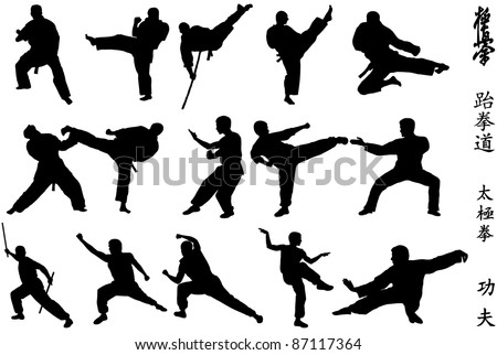 Different karate fighters and symbols on white background