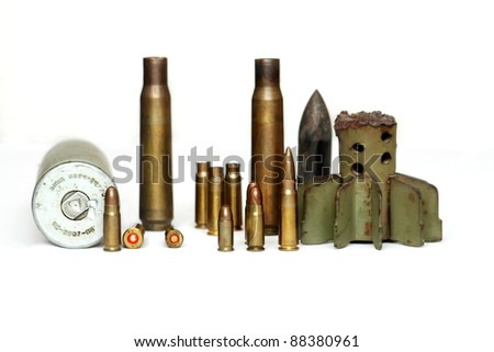 Different kind and size of ammo on isolated white background