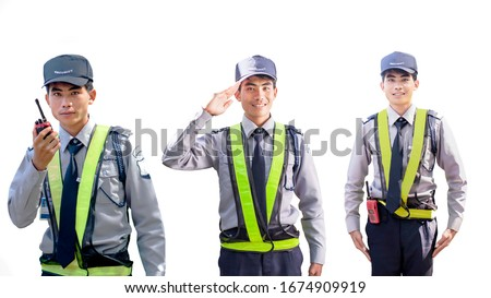 Different kind of Asian security guard isolated on white background. Male security guard with portable radio transmitter. A security guard with portable radio transmitter. Copy space for web.
