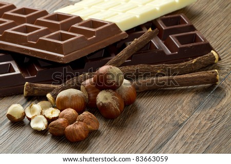 different kind of chocolate with ingredients