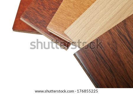 different kind of hardwood flooring samples with copy space