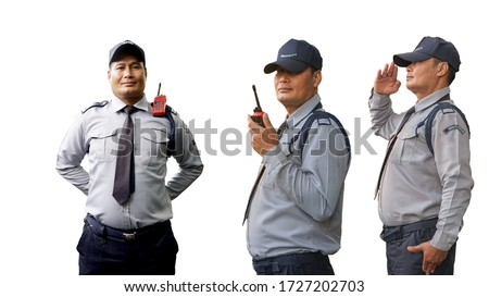 Different kind of Middle old of Asian security guard isolated on white background. Male security guard with portable radio transmitter. A security guard with portable radio transmitter.
