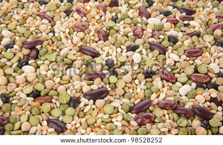 Different kinds group grain, cereals , bean