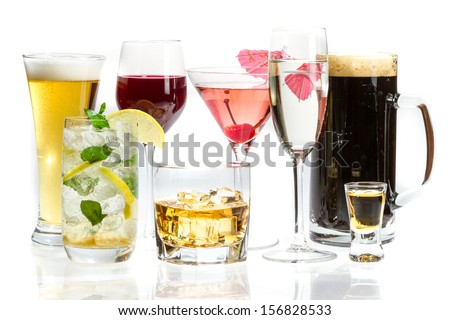Different kinds of alcohol on a white background #156828533