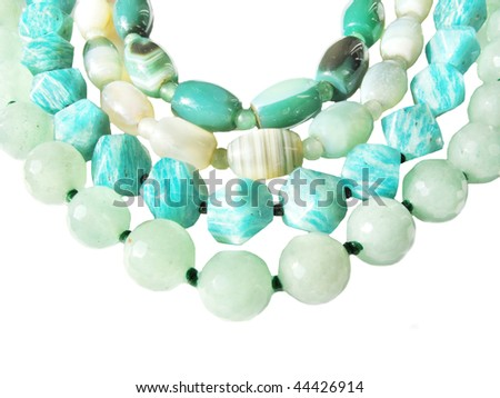 different kinds of beads green color