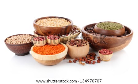 Different kinds of beans in bowls isolated on white Stock photo ©