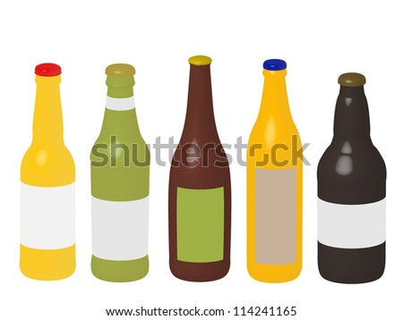 Different Kinds of Beer Bottles 3D