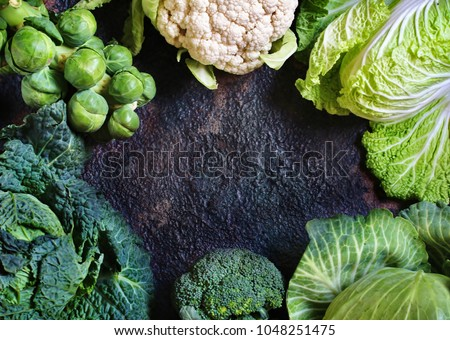 different kinds of cabbage background. Copy space. broccoli, brussels sprouts, cabbage, Savoy cabbage, cauliflower, Peking cabbage. The concept of healthy diet food. Flatlay