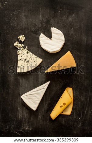 Different kinds of cheeses (camembert, brie, parmesan, blue cheese) captured from above (top view). Black chalkboard as background. Layout with free text space.