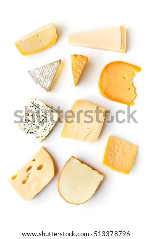 Shutterstock Different kinds of cheeses isolated on white background.