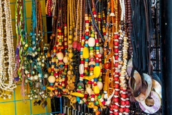 Different kinds of colorful Philippine souvenirs available at souvenir shops in Mactan Island Cebu Phlippines for the tourist and visitors.