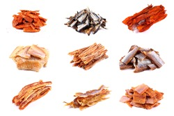 Different kinds of dried fish. Collage
