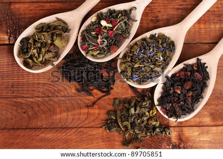 Different kinds of dry green and black tea in spoons on wooden background