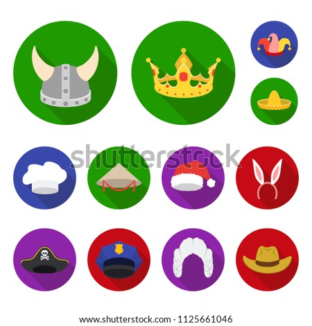 41ab335a93f1d Different kinds of hats flat icons in set collection for design.Headdress  bitmap symbol stock