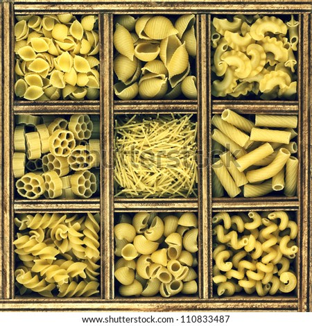 different kinds of italian pasta in wooden box catalog. vintage style image