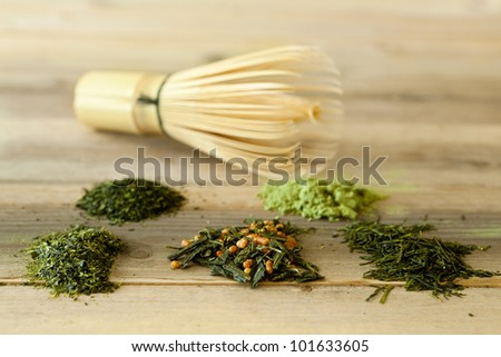 Different kinds of Japanese tea with bamboo whisk
