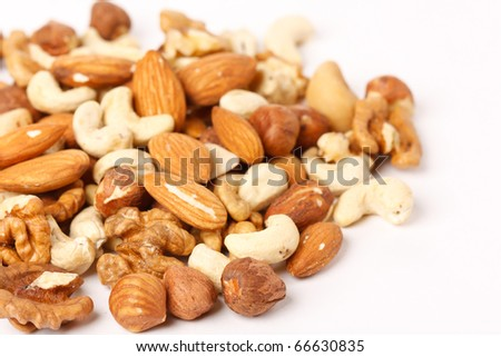 different kinds of nuts - stock photo