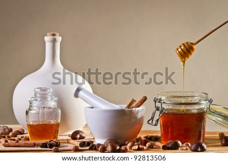 Different kinds of nuts and honey