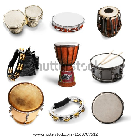 Different kinds of percussion instruments