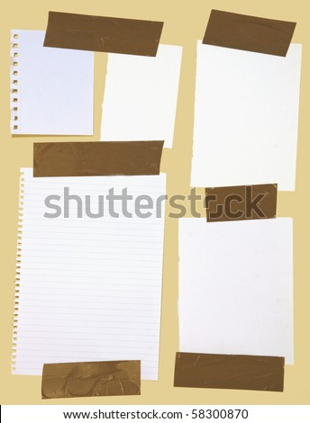 Different kinds of white pieces of paper stuck with brown wrapping tape isolated on yellow background.