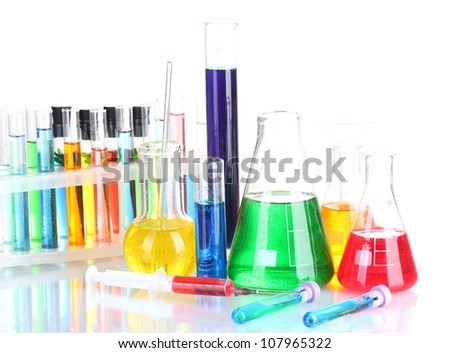 Different laboratory glassware with color liquid isolated on white