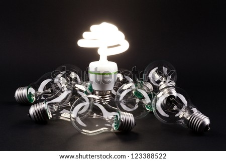 Different lamp. Concept for energy conservation