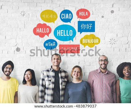 Different Language Speech Bubble Hello Concept Foto d'archivio ©