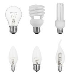 Different light bulbs set. Product photo isolated on white. Tungsten and fluorescent light sources set.