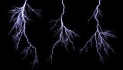 Different lightning bolts isolating on black