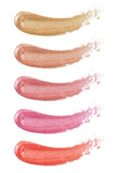 Different lip glosses isolated on white