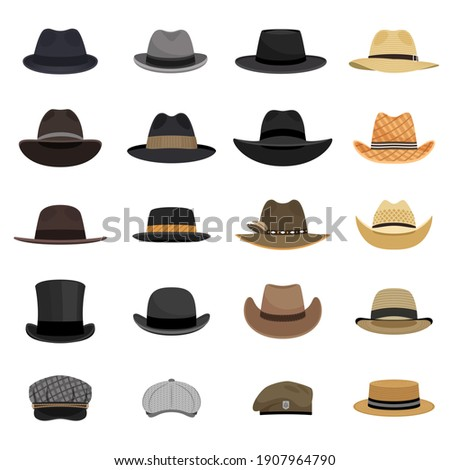 Different male hats. Fashion and vintage man hat collection image, derby and bowler, cowboy and peaked cap, tyrolean and summer straw hat, military beret Stockfoto ©