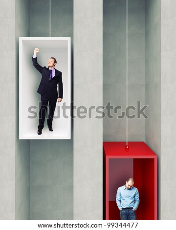 different man on 3d elevator