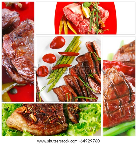different meat lunches with vegetables on tables