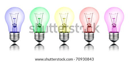 Different New Ideas - Row of Colored Lightbulbs Isolated on White Background
