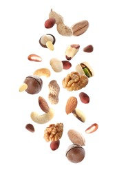 Different nuts falling on white background