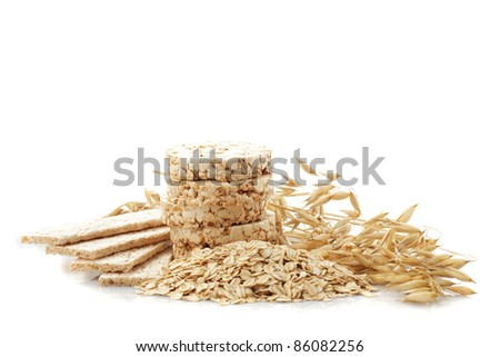 Different oat products isolated on white background