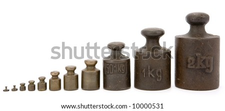 Different old-fashioned weights unit (brass and iron - from 1g to 2kg) on white background